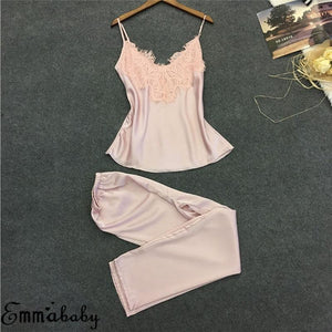 Women Pajamas Top Long Pant Silk Lace V-neck Sleepwear Lace Lingerie Nightdressintotham-intotham