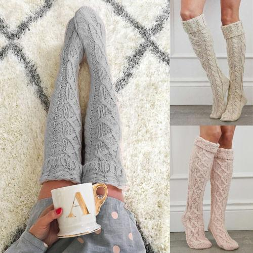 Womens Winter Cable Knit Over Knee Long Boot Thigh-High Warm Socksintotham-intotham