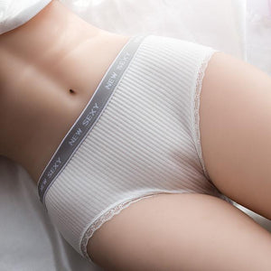 Fine Sewing Woman Underwear Cotton Striped Breathable Panties Sexy Lace Edge Underwearintotham-intotham