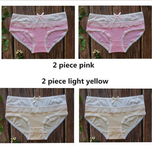 4 pieces Cotton Panties Woman Underwear Sexy Fashion Briefs Fancy Lace femaleintotham-intotham