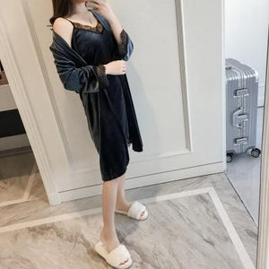 Autumn Winter New Arrival Kimono Bathrobe Gown Women's Velvet Robe Gown Laceintotham-intotham