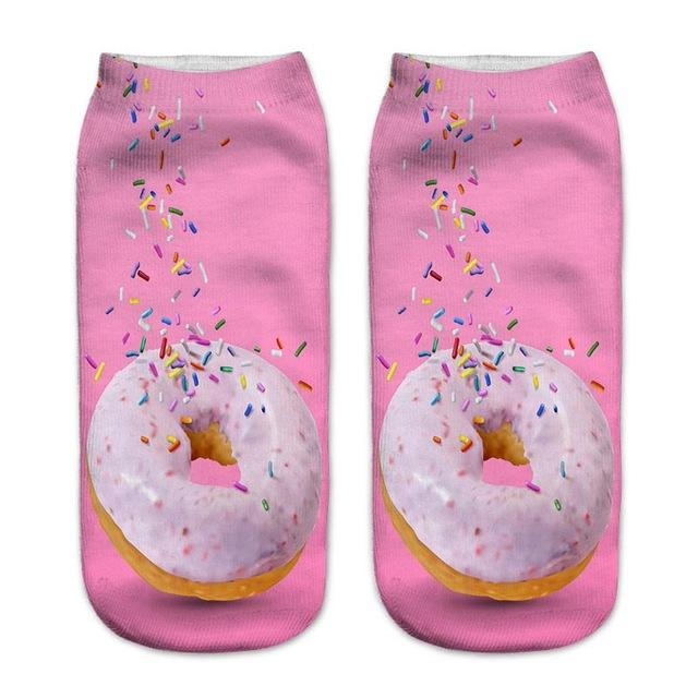 1 Pair Funny Socks Women Men 10 Patterns French Fries Hamburgers Printintotham-intotham