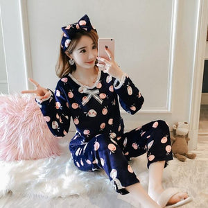 Women Pajama Sets 2018 Autumn Winter Pajamas Flannel Cartoon Thick Warmintotham-intotham