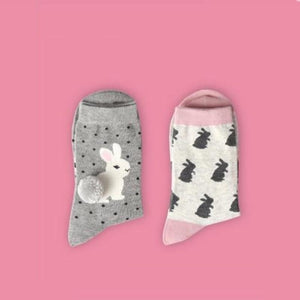 2018 new women socks 1 pair long cotton color cute animal rabbitintotham-intotham