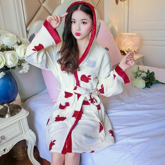 Thick Warm Soft Flannel Kimono Hooded Robes for Women 2018 Winter Longintotham-intotham