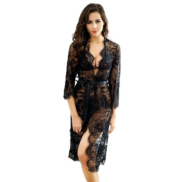 Women Robe Sexy Lace Bridesmaid Robes Long Sleeve Bathrobes Femme Nightie Gownintotham-intotham