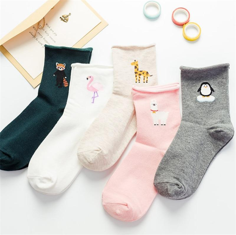 Japanese Cute Flamingos Funny Socks Print Sheep Penguin Edge Socks Women Kawaiiintotham-intotham