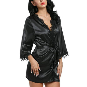 Women Summer Casual Loose Solid Silk Satin Long Sleeve V-Neck Robes Weddingintotham-intotham