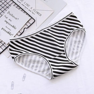 Women's Panties Cotton Black White Style Casual Underwear Sexy Girls Print Underpantsintotham-intotham