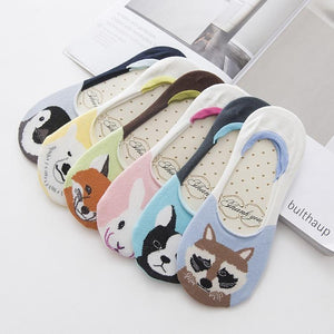 1pairs/lot Summer Cartoon Cotton Women Boat Socks Cute Cartoon Animal Cotton Highintotham-intotham