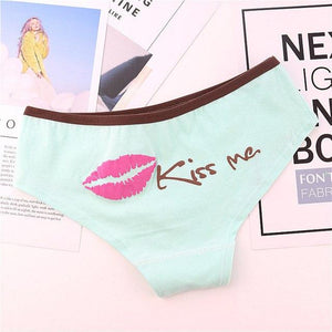 Haimeikang Panties Women Fashion Sexy Lip Kiss Me Cotton Panties low-Cut Briefsintotham-intotham