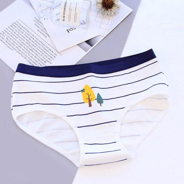 Underwear Women Panties Cotton Briefs Young Girls Low Waist Stripe Cute Underpantsintotham-intotham