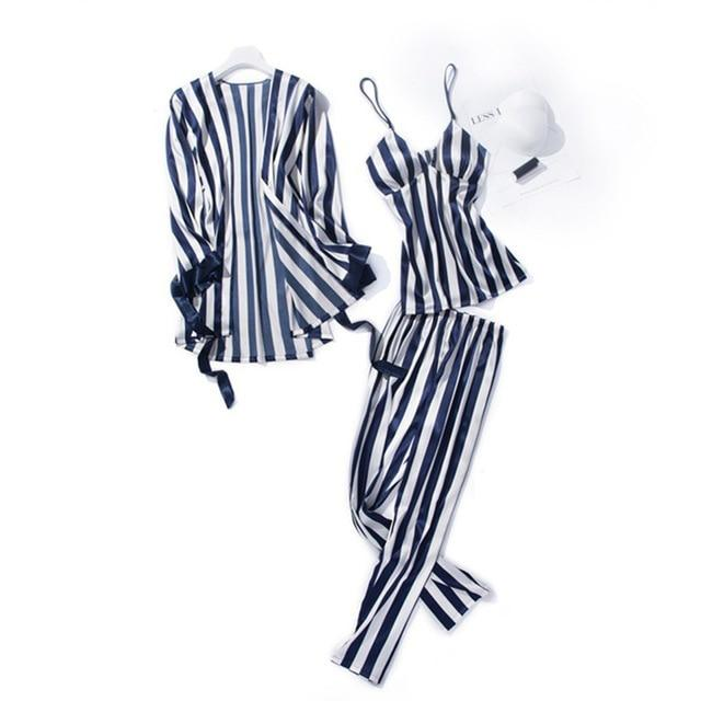 Cute Stripe Women Pajamas Sets Sexy Silk Sleepwear Suit 3 Pcs Nightdressintotham-intotham