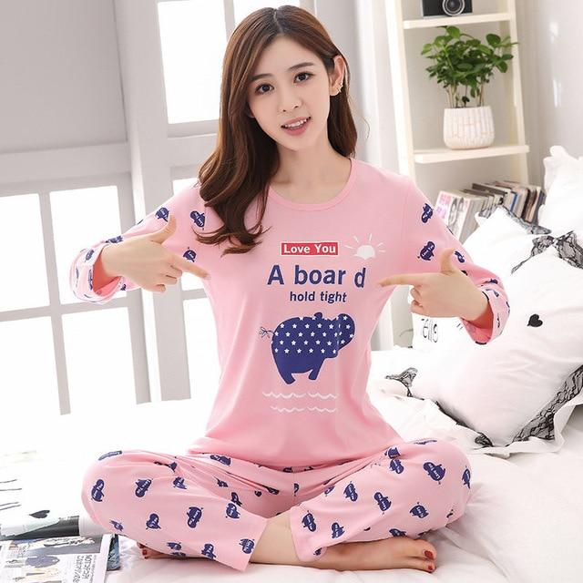 womens Pajamas Set Spring Autumn new Thick cartoon printed Long sleeve Lovelyintotham-intotham