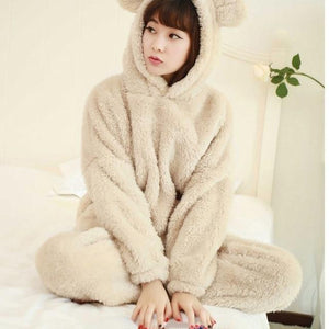 2018 Autumn Cute Flannel Pajamas Two Piece Set Coral Fleece Bear Hoodedintotham-intotham