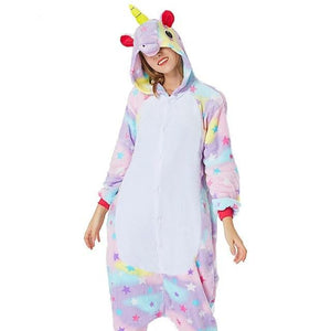 Adults Pajama Set Cartoon Unicorn Kigurumi Onesies Women Men Unisex Hoodedintotham-intotham