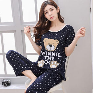 Women's Pajama Set 100% Knit Cotton Thick Two-piece Suits 2018 Autumn Femaleintotham-intotham