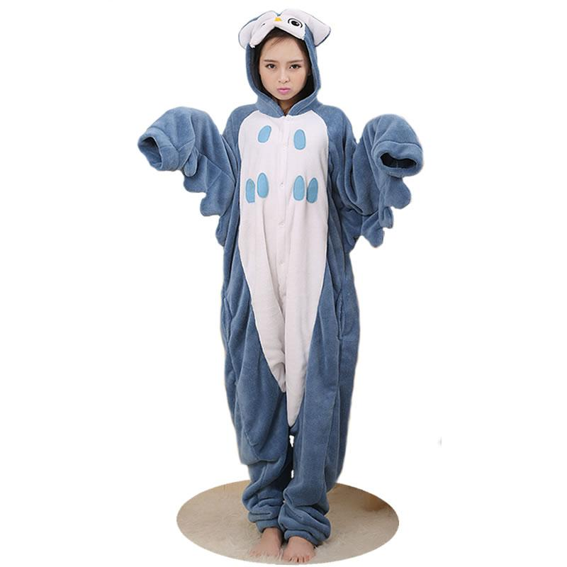 Women Men 2018 New Owl Unisex Adult Casual Flannel Hooded Pajamas Cosplayintotham-intotham