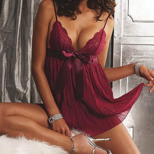New Women Sexy V Neck Lace Babydoll Sleepwear Lingerie Nightgown Night Dressintotham-intotham
