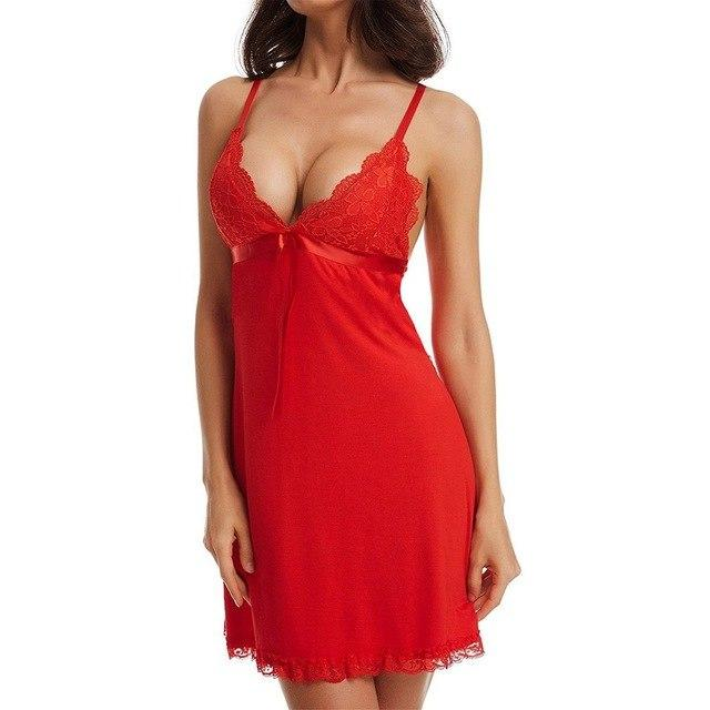 2 Pcs Dress+Briefs Sexy Women Night Dress Sleepwear Nightgown Solid Color Laceintotham-intotham