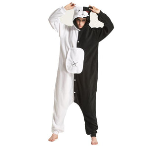 Soft Cartoon Monokuma Kigurumi Pajamas Black White Bear Animal Danganronpa Onesies Womenintotham-intotham