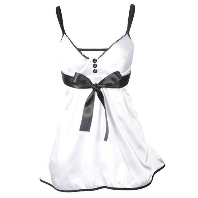 Sexy Bowknot Babydoll Women Underwear Nightwear Sleepwear Dress + G-stringintotham-intotham