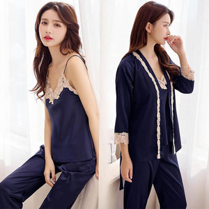 3 Peice Woman Autumn Winter Pajamas Set Sexy Lace Sling Satinintotham-intotham