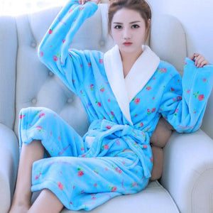 Autumn Winter Robe Women Flannel Long Bathrobe Floral Thick Warm Coral Fleeceintotham-intotham