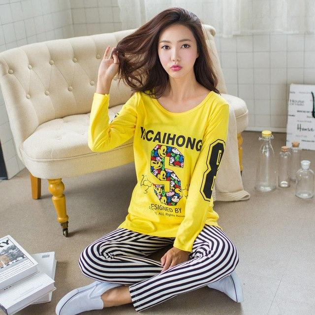 2018 Winter Spring Women Pajamas Animal Cartoon Print Pajama Sets Cottonintotham-intotham