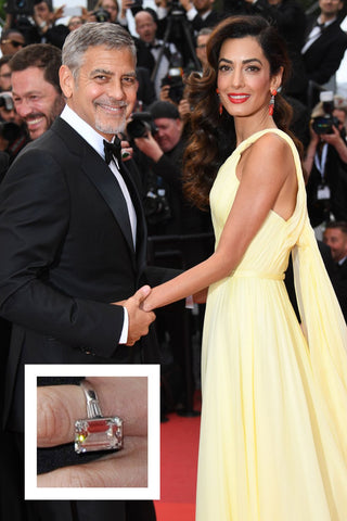 Amal Clooney's dazzling emerald cut diamond ring