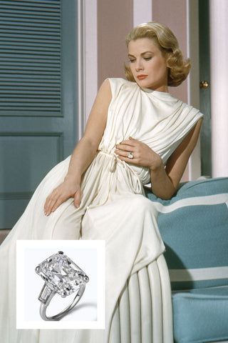Grace Kelly's 10.47 carat emerald cut diamond engagement ring