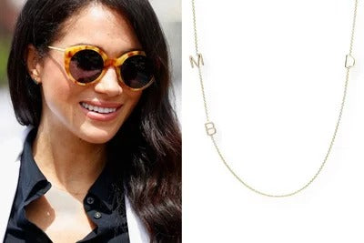 Meghan Markle wearing initial name necklace