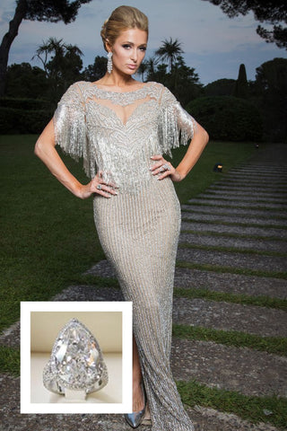 Paris Hilton's wopping 20 carat Pear shaped ring