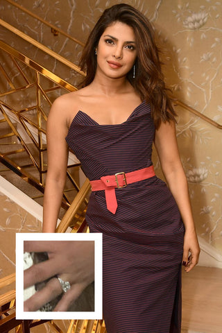 Priyanka Chopra's Tiffany cushion cut diamond ring