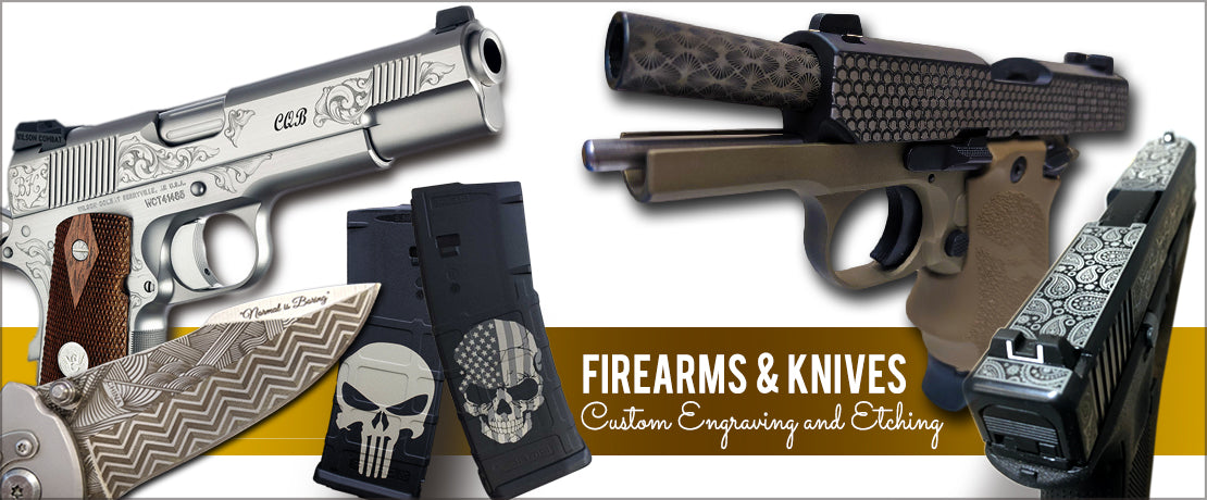 Custom Engraving on Firearms parts and knives
