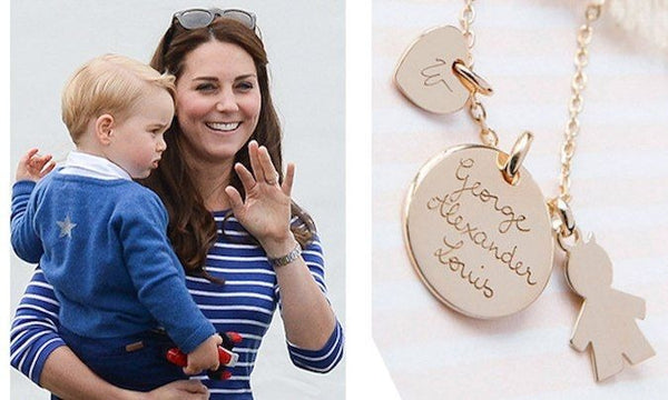 Kate Middleton with her son and her exgraved name charms