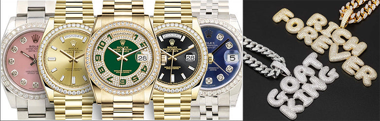 rolex and initial pendants