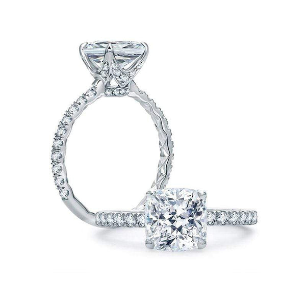 A. Jaffe Engagement Ring A. Jaffe Quilted French Pavé Cushion Cut Center Engagement Ring ME1851Q/248