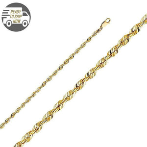Capri Chain Diamond Cut Rope Chain 22 inches 4mm Semi Solid 10K Yellow Gold