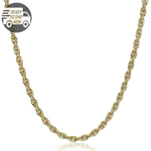 Capri Chain Diamond Cut Rope Chain 26 inches 4mm Semi Solid 10K Yellow Gold