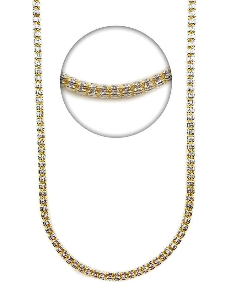 Capri Chain Two Tone Diamond Cut Ice Link Chain 26in 3.5mm 10K