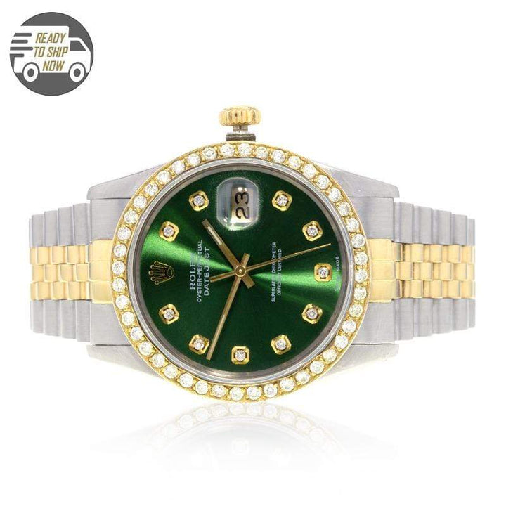 Capri Custom Watch Custom 2.50ctw Diamond Rolex DateJust 36MM Green Face Watch