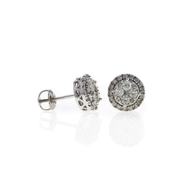Capri Earrings 0.90ctw Diamond Round Cluster Earrings 14K