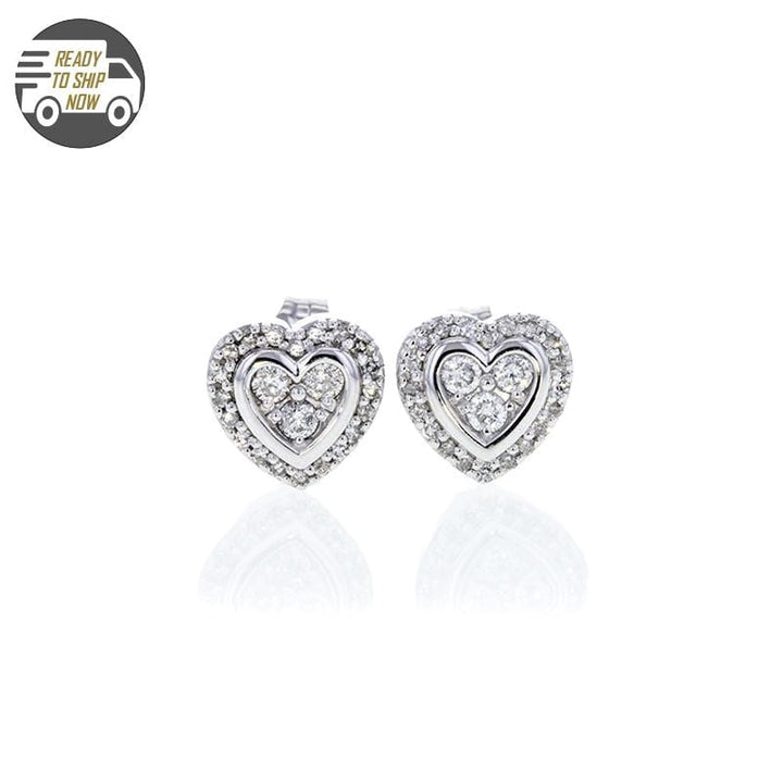 Capri Earrings Diamond Lined Heart Stud Earrings