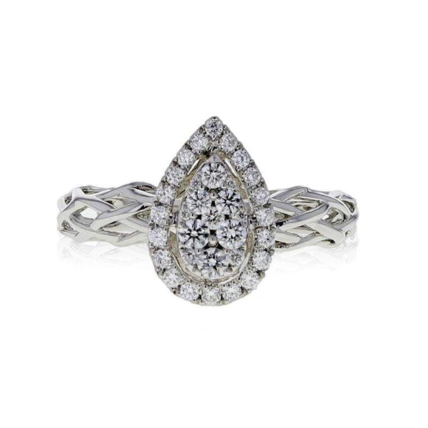 Capri Engagement Ring 0.41ctw Diamond Pear Cluster Bridal Ring 14K