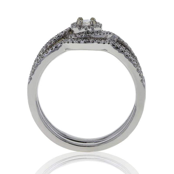 Capri Engagement Ring 0.42ctw Diamond Round Halo Two Piece Bridal Set 14K