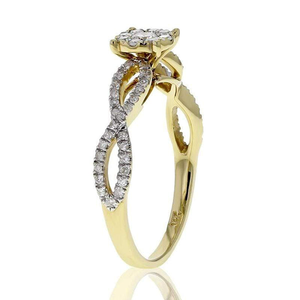Capri Engagement Ring 0.42ctw Twisted Band Cluster Floral Ring 14K