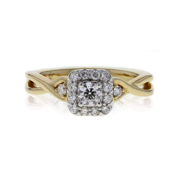 Capri Engagement Ring 0.50ctw Halo Style Twisted Band Ring 14K