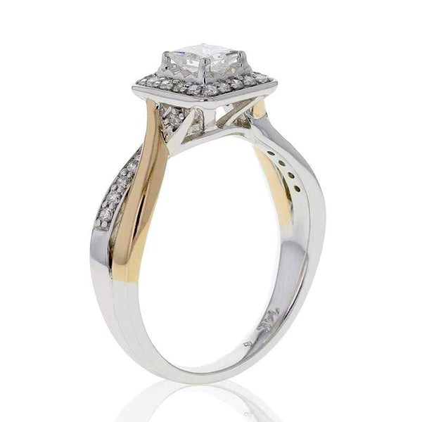 Capri Engagement Ring 0.50ctw Princess Cut Diamond Halo Two Tone Ring 14K