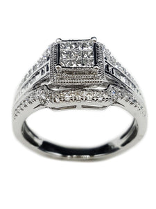Capri Engagement Ring 0.50ctw Princess Cut Quad Set Ring 10K